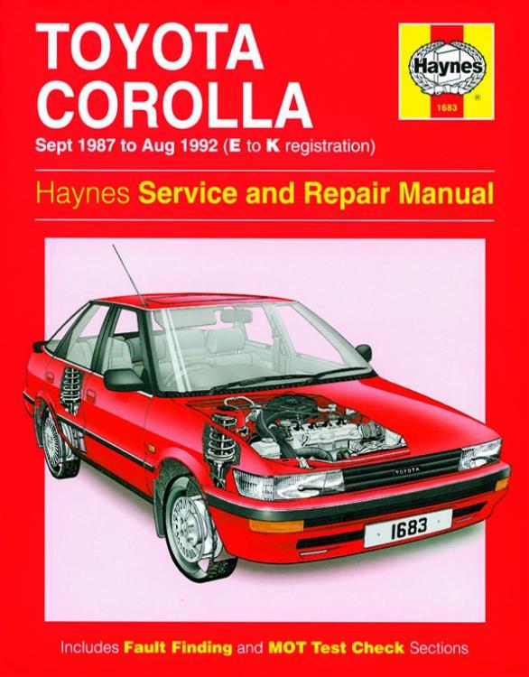1683 haynes manual toyota corolla petrol sept 87 aug 92 e to k rh eandmmotorfactors co uk 1989 Toyota Corolla Blue Book 1989 Toyota Corolla Engine
