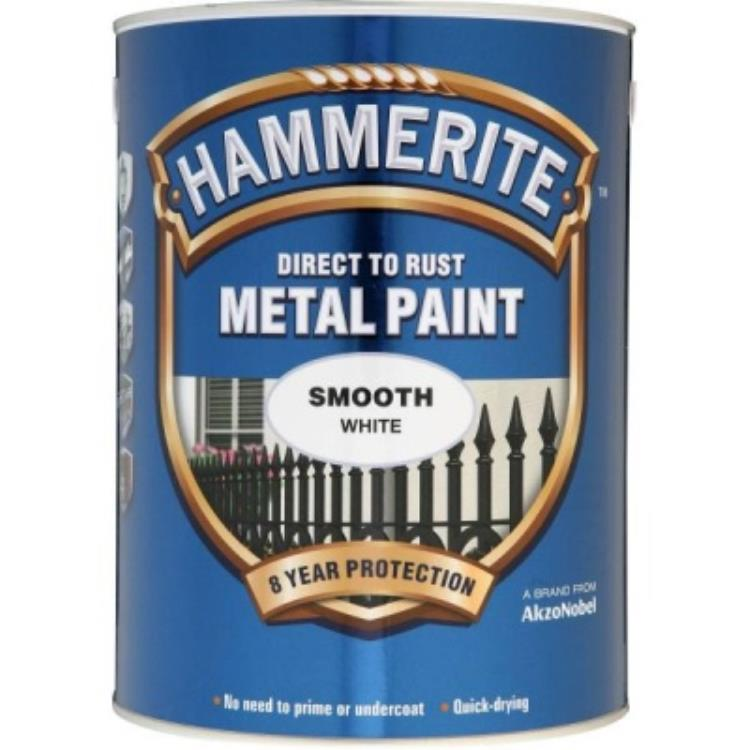 Hammerite Metal Paint Smooth White 5 Litre 5084861
