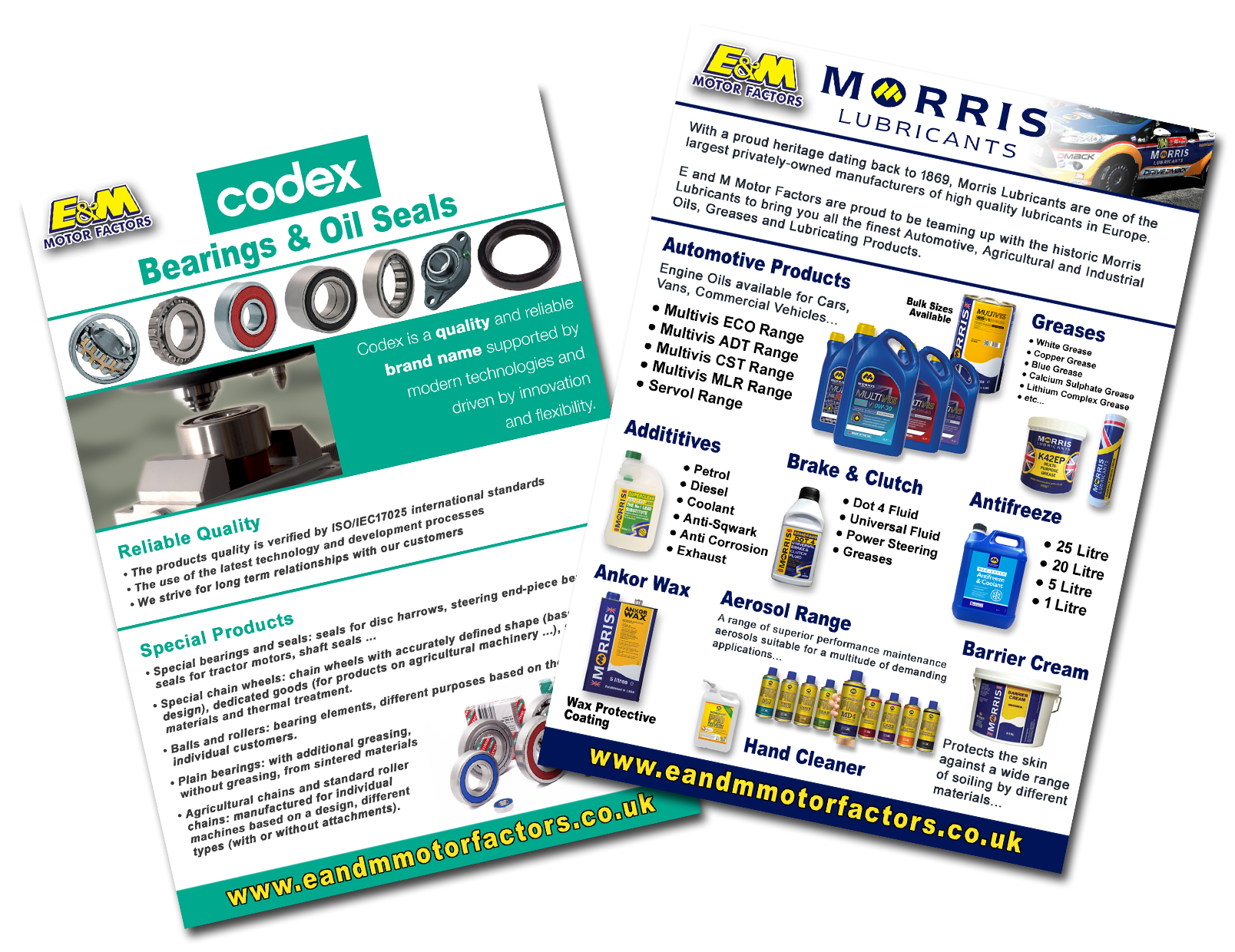 Promotions and Leaflets available in store for major brands including: Millers Oils, Codex Bearings and Seals, Sealey, SIP, Draper